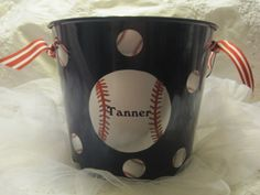 """Personalized Easter Basket. This 5-quart personalized bucket is a great size for your Easter Egg hunt. After Easter, the bucket would be a fun storage container! I can do a soccer ball on a white bucket,   ~ PRODUCT DETAILS ~ Metal buckets are powder-coated with durable paint and are personalized a custom decal. They are sealed for extra durability I will add coordinating ribbon.  5-quart bucket with the following measurements: 8-1/2"""" top diameter 7"""" tall plus handle"""