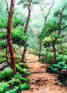 [기초 풍경수채화] 숲 길 - 수채화 과정 : 네이버 블로그 Watercolor Trees, Easy Watercolor, Watercolor Drawing, Watercolor Background, Watercolor Landscape, Landscape Art, Landscape Paintings, Sketchbook Challenge, Pixel Color