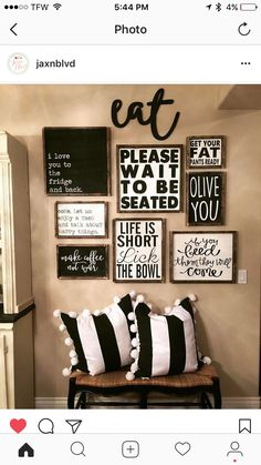 Best Dining Room Wall Decor Ideas 2018 (Modern & Contemporary Pictures) - All About Decoration Kitchen Gallery Wall, Gallery Wall Art, Rustic Gallery Wall, Room Decor For Teen Girls, Dining Room Wall Decor, Wall Decor For Kitchen, Kitchen Wall Sayings, Kitchen Wall Decorations, Dining Room Picture Wall