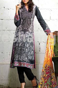 Buy Black Embroidered Cotton Dress by Resham Ghar Spring/Summer Collection 2015.