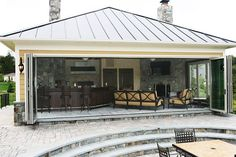 Pool House Kitchen in Leesburg, VA by Berriz Design Build Group – Pool 2020 Pool House Shed, Pool House Bathroom, Pool House Plans, Outdoor Pool Bathroom, Pool House Designs, Backyard Patio Designs, Backyard Kitchen, Outdoor Kitchen Design, Outdoor Kitchens