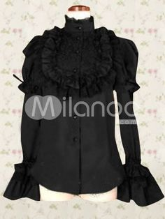 Cotton Black Lace Long Sleeves Lolita Cotton Blouse In just  USD $30.99 at Wholesale Price.