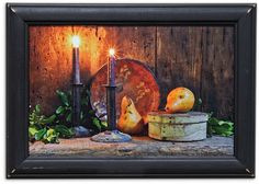 Beautiful framed print Candles & Pears available at KP Creek Gifts! Kp Creek Gifts, Pears, Primitive, Basket, Framed Prints, Candles, Floral, Holiday, Painting