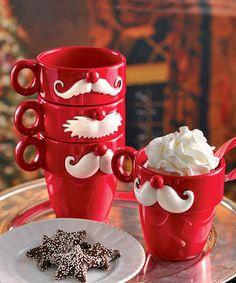 Red Ceramic Mustache Mug - Set of Four