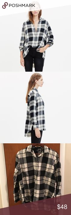 MADEWELL Oversized Boyshirt in Lamont Plaid Worn once - perfect shirt for fall.  Cotton.  Machine wash. Madewell Tops Button Down Shirts