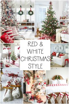 Classic Red & White Christmas Style Series The happy housie – christmas decorations Christmas Family Feud, Christmas Traditions, Christmas Home, Christmas Ideas, Red Christmas Trees, White Christmas Garland, Christmas Crafts, Christmas Pictures, Decoration Christmas
