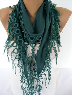 Pashmina scarf women scarves  guipure   Green scarf  by MebaDesign