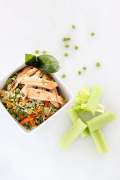 Pack a healthy, budget-friendly lunch using this recipe for a chicken and brown rice bowl. Grilled lean chicken is served alongside a portion of brown rice tossed with celery, onion, peas and carrots that's dressed in a lemon-mustard sauce. It's a zingy lunch filled with protein and fiber to fuel you 'till dinner! Photo Credit: …