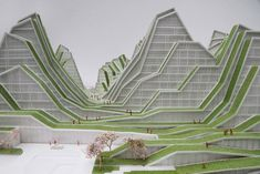 Hualien Residences: BIG& Most Mountainous Housing Project Yet? Architecture Design, Sustainable Architecture, Amazing Architecture, Landscape Architecture, Landscape Model, Green Landscape, Landscape Design, Bjarke Ingels Architecture, Big Architects