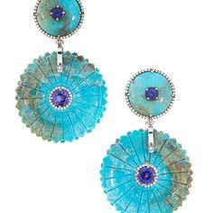 Turquoise and Tanzanite Earrings Silvia Furmanovich