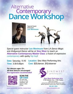 Santa Barbara, CA Special Guest Instructor Leo Morimune fro LA Dance Magic and IHollywood Dance teaches an Alternative Contemporary Master Class: a fusion of expressive contemporary with quirky Hip-Hop.   For dancers ag...