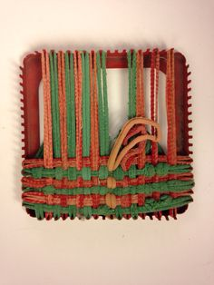 Shabby Vintage Metal Pot Holder Weaving Loom Red by EBSVintageHome on Etsy