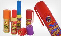 O Push Pop era um pirulito que dava pra parar de chupar e guardar pra comer depois. Este doce também fez muito sucesso nos anos 90