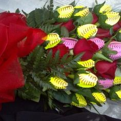My niece, Kacee received two dozen Softball Roses in 2009 to commemorate her 1,000th career strikeout and 100th career win during her high school career. She had previously received a dozen (mixed-yellow and pink) Softball Roses from her parents.