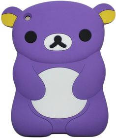 """Amazon.com: Grape Purple {Anime Teddy Bear} Soft & Smooth Silicone Cute 3D Fitted Bumper Back Cover Gel Case for iPad Mini 1, 2 & 3 by Apple """"Durable & Slim Flexible Fashion Cover w/ Amazing Design"""": Computers & Accessories"""