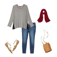 Pair blue skinnies with a black and white striped tee and tan flats for a laid back, casual look that's perfect for wherever your weekend takes you. Add a red scarf for a pop of color! Blue Skinnies, Tan Flats, Red Scarves, Fall Winter Outfits, Striped Tee, Plus Size Women, Casual Looks, Plus Size Outfits, Color Pop