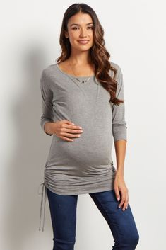 Grey Solid Side Cinched 3/4 Sleeve Maternity Top
