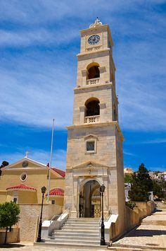 Bell Tower of Saint George Orthodox Church [ Syros, Ermoupolis, Syros Island, Greek Cyclades Islands Parthenon, Acropolis, Syros Greece, Elgin Marbles, Old Mansions, Greece Islands, In Ancient Times, Travel Images, Greece Travel