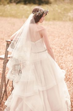 horsehair edge two tier fingertip length embroidered veil