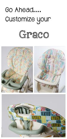 Handmade and stylish replacement high chair covers for Graco.  www.sewplicity.com  Covers for: Harmony, Neat Seat, Easy Chair Double Tray, Contempo