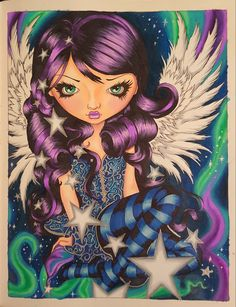 Angel of starlight from Jasmine Becket-Griffith's Coloring book a fantasy art