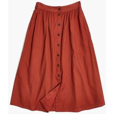 MADEWELL Palisade Button-Front Midi Skirt ($98) ❤ liked on Polyvore featuring skirts, rusty torch, calf length skirts, cotton knee length skirt, mid-calf skirt, button up front skirt and red midi skirt