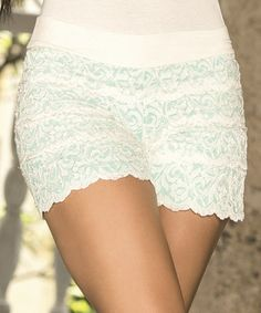 Another great find on #zulily! Ivory Lace Scallop Shorts by AM PM #zulilyfinds