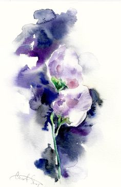 Original Watercolor Painting of Abstract Flowers by CanotStop
