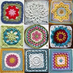 Here are nine patterns for a granny flower square. Crochet flower granny squares into an afghan, scarf, pillow, purse, etc.