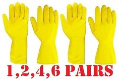 Rubber YELLOW WASHING UP GLOVES Latex REUSEABLE Glove Household Cleaning