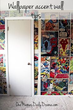 Wallpaper accent wall tips | One Mama's Daily Drama --- How to hang comic book wallpaper and create an accent wall. Check out the before and after pics!
