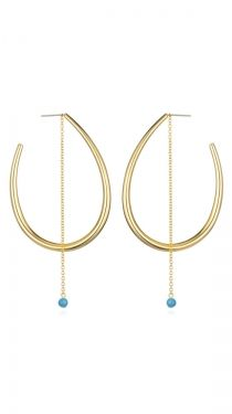 Edie hoops with turquoise stone :}
