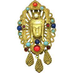 HATTIE CARNEGIE Oriental Asian Siamese Cabochon Gold Plated Figural Brooch Rare