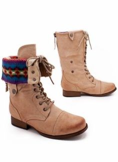 Cuffed combat boots. I like the fabric lining.