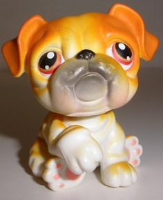 2004 Littlest Pet Shop #46 Cream Orange Bulldog With Red Brown Eyes And Magnet #Hasbro