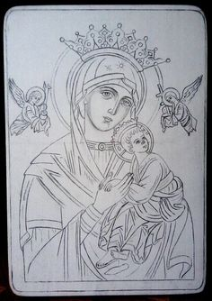 Our Lady of Perpetual Help? Religious Tattoos, Religious Icons, Religious Art, Christian Drawings, Christian Art, Byzantine Icons, Byzantine Art, Writing Icon, Virgin Mary Art