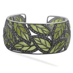 Marcasite Leaf Statement Bracelet