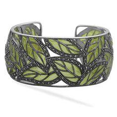 Marcasite Leaf Statement Bracelet