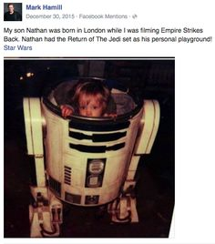 When he pulled a literal dad move and and put his baby in the R2D2 costume. | 15 Times Mark Hamill Was The Fandom Dad We've Always Needed