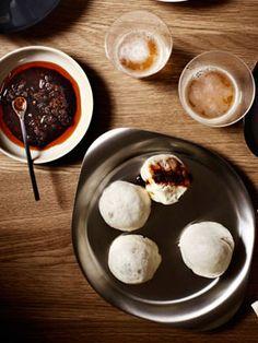 Steamed pork dumplings with Shanghai chilli vinegar   http://gourmettraveller.com.au/steamed-pork-dumplings-with-shanghai-chilli-vinegar.htm