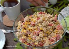sałatka z kurczakiem i prażonym słonecznikiem Party Snacks, Fried Rice, Health Fitness, Food And Drink, Menu, Vegetables, Ethnic Recipes, Impreza, Salads