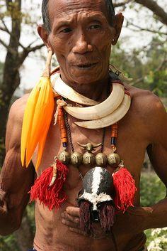 India - Nagaland | Konyak Naga people at Wakching village |  © Walter Callens
