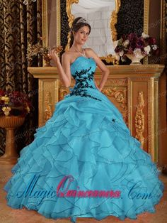 Aqua Blue Ball Gown Sweetheart With Organza Appliques Sweet 15 Quinceanera Dresses - Magic Quinceanera