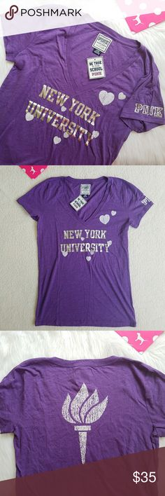 Victoria's Secret PINK NYU Vneck Tee Shirt Bling Victorias Secret PINK New York University Bling T-Shirt  Size large Brand new with tag nwt  Super cute and comfy v-neck Silver metallic shiny lettering on front and sleeve Hearts and torch are fuzzy textured material Show your NYU pride!  The best gift for an NYU student, alum, parent, or sibling who loves VS Pink :) If you are heading there this August, congratulations & best of luck on your college adventure!!  Measurements taken with tee…