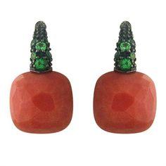 Pomellato Capri 18K Gold Coral Tsavorite Earrings @ oakgem. com