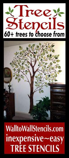 Tree Stencils- Choose from over 60 tree stencils . https://www.walltowallstencils.com/stencils/landing/trees.php  Decorate your walls with beautiful tree stencil designs.  So easy and inexpensive. #tree stencils #mural stencils #tree stencil