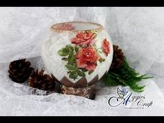 Decoupage Tutorial - Glass Candle Holder with Rice Paper - DIY Tutorial