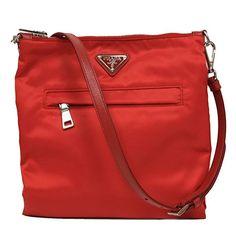 00e85963868d Prada Red Tessuto Nylon & Saffian Leather Crossbody Messenger Travel Bag  BT1023 #bolsa #bolso