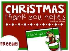 Freebie Christmas Thank You Cards For Teachers  December