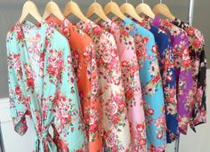 Floral Kimono Bridal Party Robes Available in 8 Different Colors! Starting at just $16. https://www.ellawinston.com/collections/robes #bridesmaidrobe #gettingreadyrobe